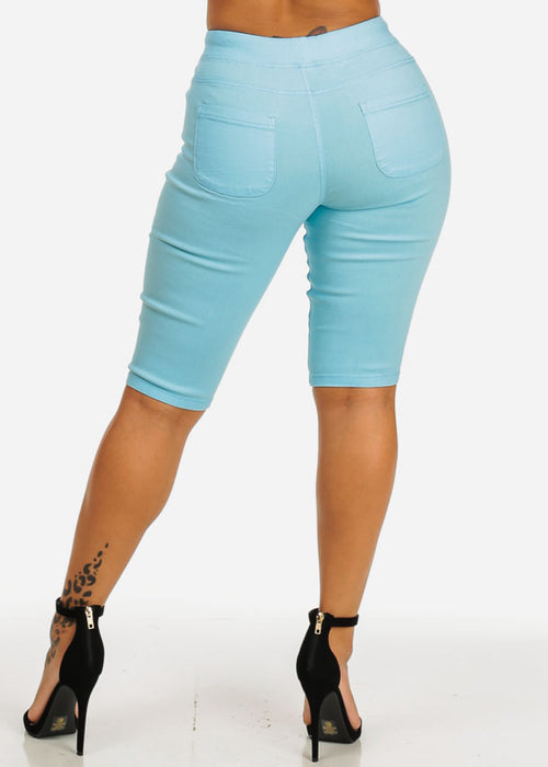 High Waist Slim Fit Light Blue Capri Shorts
