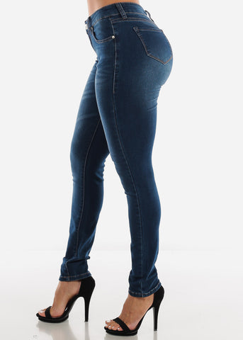 Image of Mid Rise Dark Wash Skinny Jeans