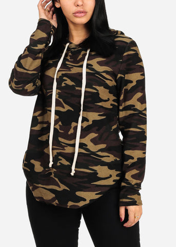 Hooded Long Sleeve camouflage Print Tunic Sweatershirt