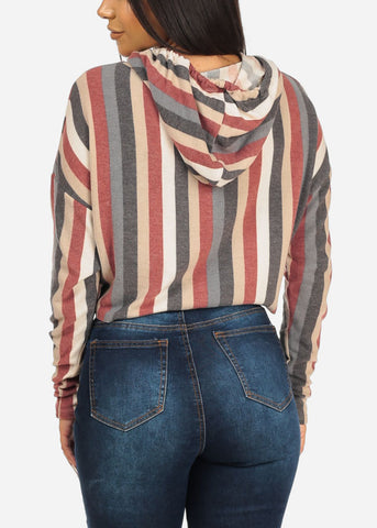 Hooded Stripe Cropped Sweatshirt