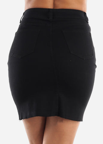 Raw Hem Black Denim Skirt