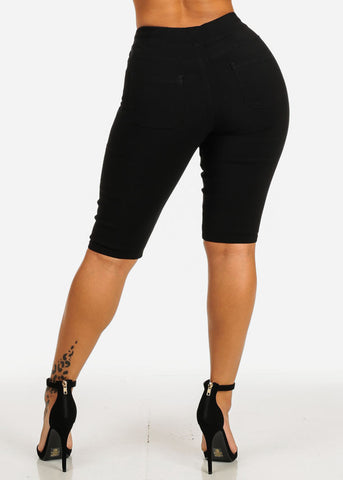 High Waisted Black Bermuda Capri Shorts