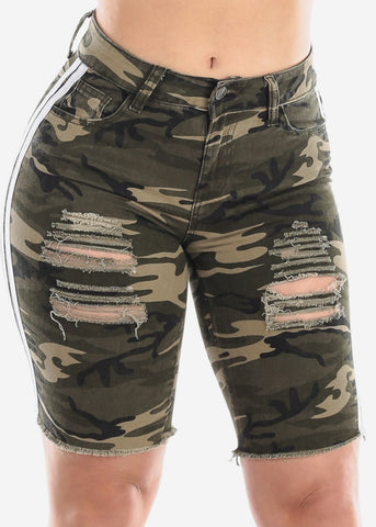 Image of Ripped Camouflage Bermuda Shorts