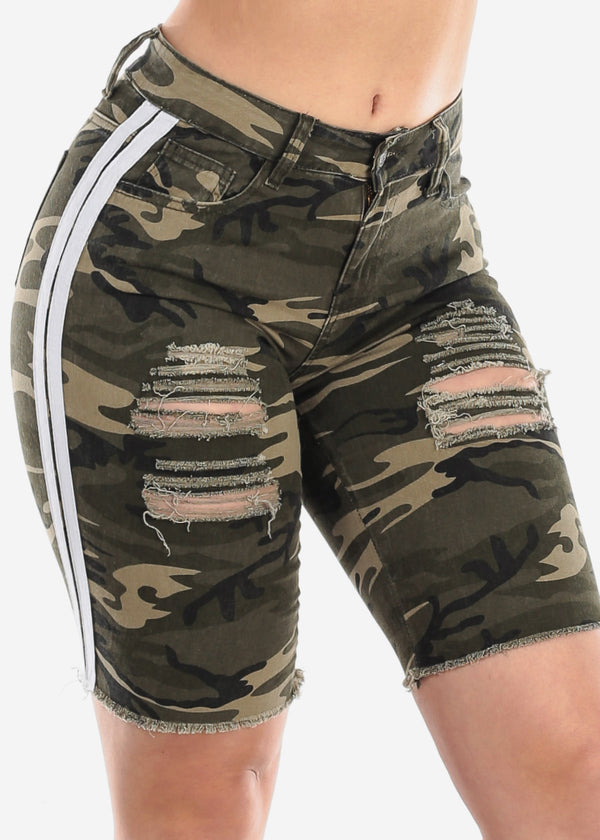 Mid Rise 1 Button Camouflage Print White Side Stripes Distressed Denim Bermuda Shorts For Women Ladies Junior