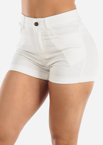 Image of High Waisted White Shorts
