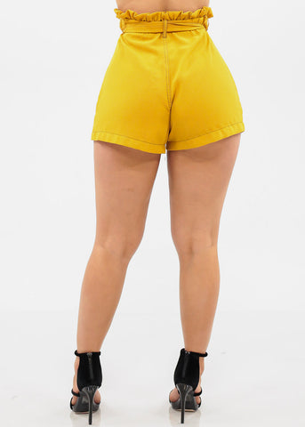 Image of High Rise Mustard Shorts