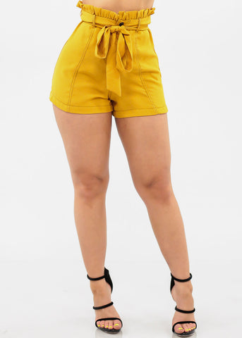 Image of Women's Junior Ladies Summer Vacation Stylish Snap Button Closure Tie Belt Paperbag High Waisted Lightweight Mustard Shorts