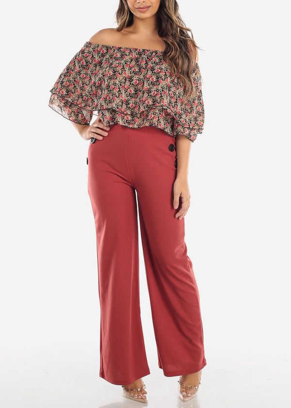 High Waisted Wide Leg Dress Brick Pants