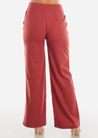 Image of High Waisted Wide Leg Dress Brick Pants