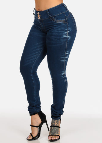 Colombian Design Butt Lift Med Wash High Waisted Orange Stitching Skinny Jeans