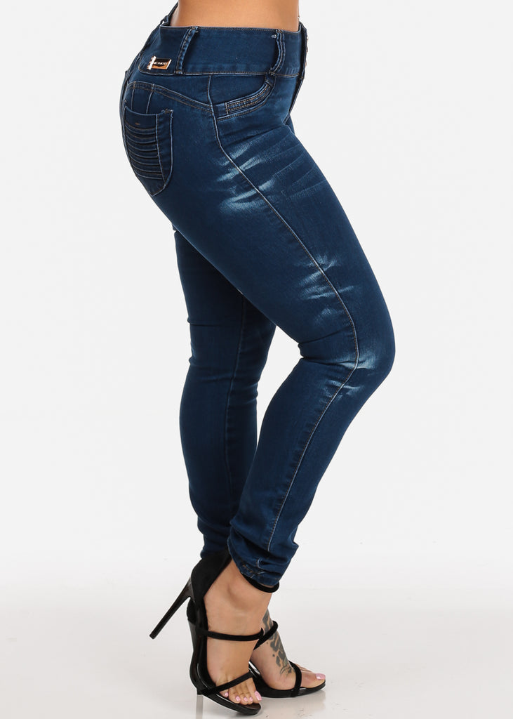 7f2fe68c81dcc Colombian Design Butt Lift Med Wash High Waisted Orange Stitching Skinny  Jeans