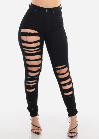 High Waisted Torn Black Skinny Jeans
