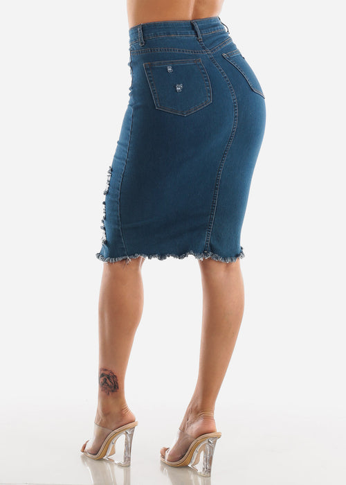High Waisted Ripped Denim Skirt