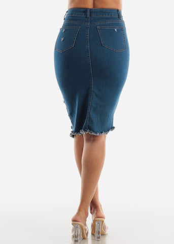 Image of High Waisted Ripped Denim Skirt