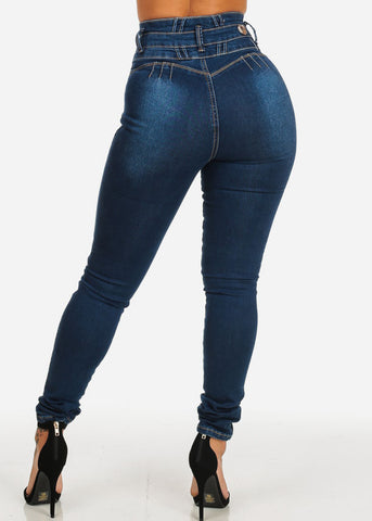 Dark Wash High Rise Butt Lift Skinny Jeans