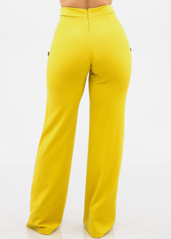 Elegant High Rise Mustard Pants