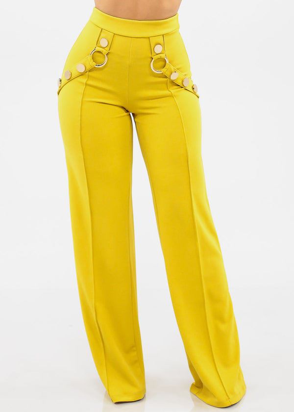 Women's Junior Ladies Sexy Stylish Elegant Night Out Clubwear Party High Waisted Pull On Mustard Lime Green Wide Legged Palazzo Dressy Pants