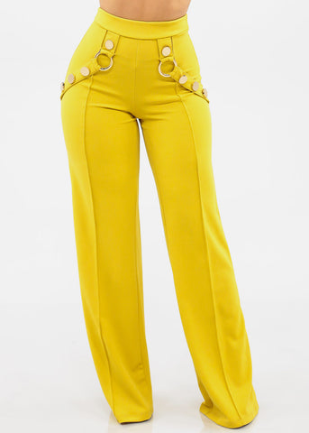 Image of Women's Junior Ladies Sexy Stylish Elegant Night Out Clubwear Party High Waisted Pull On Mustard Lime Green Wide Legged Palazzo Dressy Pants