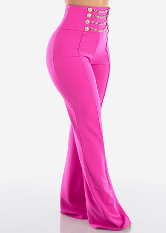 Image of Women's Junior Ladies Sexy Stylish Elegant High Waisted Wide Legged Palazzo Fuchsia Dressy Pants W Attached Gold Chains And Gold Buttons