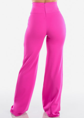 Elegant High Rise Fuchsia Pants