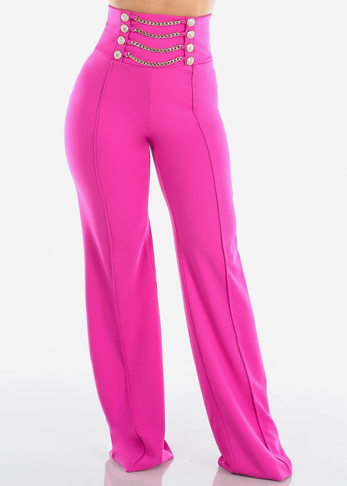 Women's Junior Ladies Sexy Stylish Elegant High Waisted Wide Legged Palazzo Fuchsia Dressy Pants W Attached Gold Chains And Gold Buttons