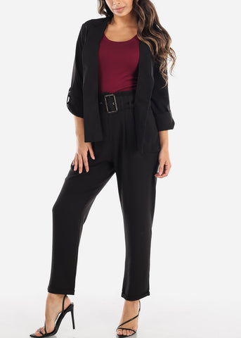 Image of Black High Waisted Pants With Belt