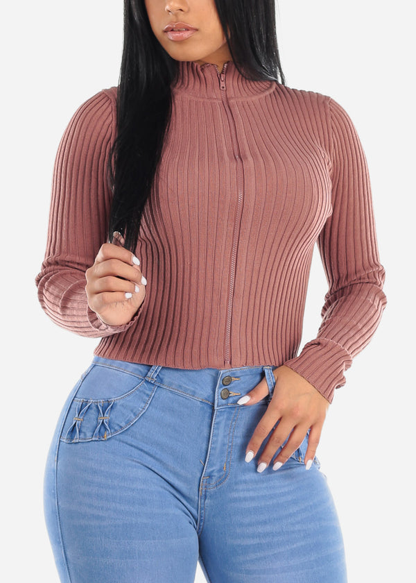 Pink Zip Up Ribbed Sweater
