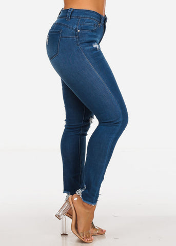 High Rise Butt Lifting Distressed Med Skinny Jeans