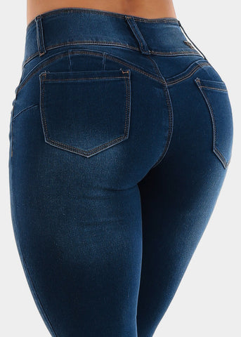 Image of Med Blue Wash Hand Sanding Jeans