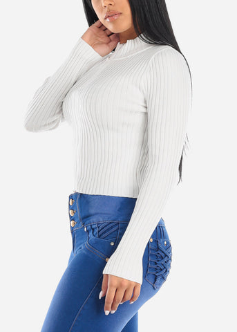White Zip Up Ribbed Sweater