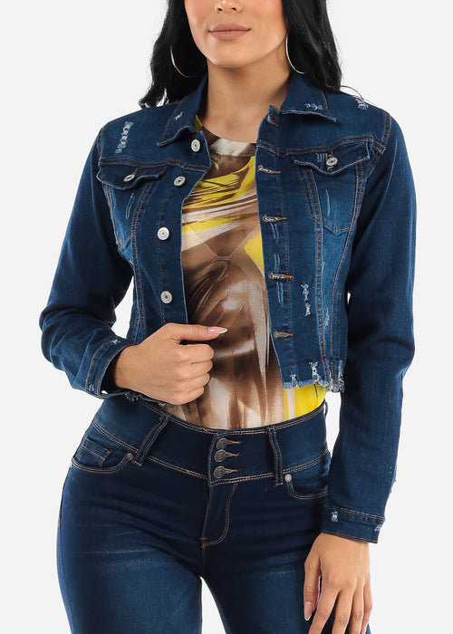 Ripped Dark Wash Denim Jacket