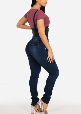 Butt Lifting Med Wash Denim Overall