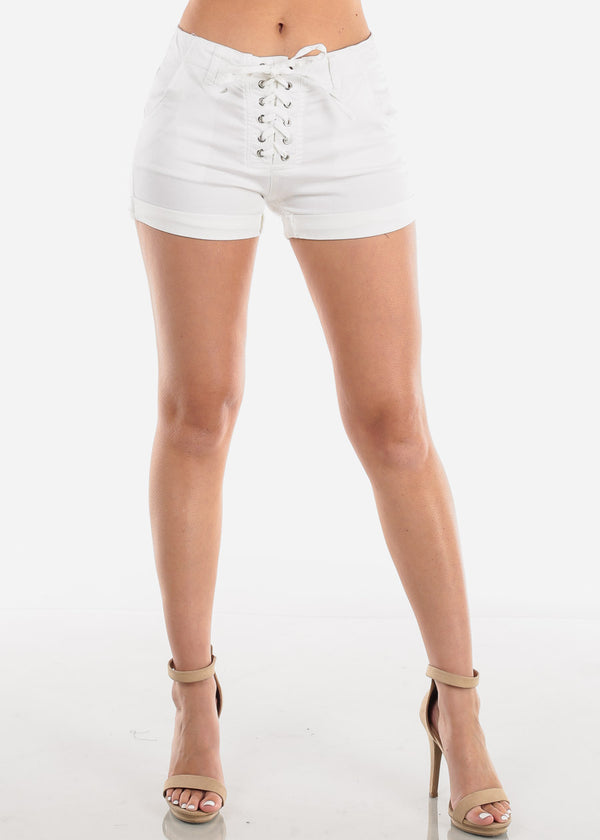 Women's Junior Ladies Going Out Clubwear Trip Vacation Lace Up Detail Solid White Super Stretchy Shorts
