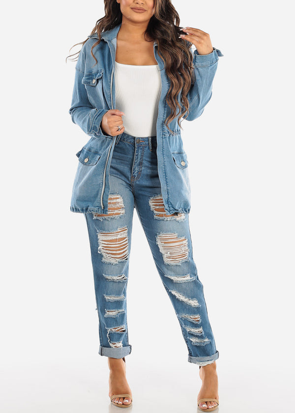 High Rise Ripped Boyfriend Jeans
