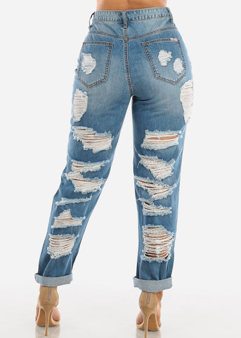 Image of High Rise Ripped Boyfriend Jeans