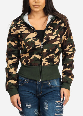 Image of Hooded Camouflage Print Sweater