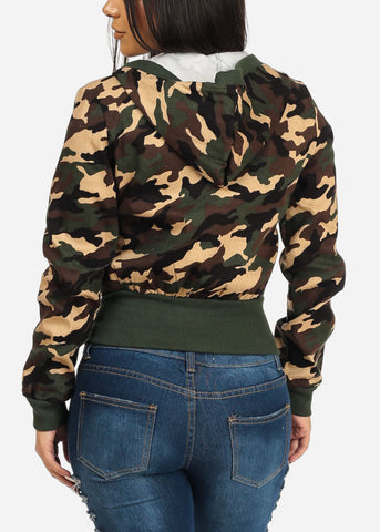 Hooded Camouflage Print Sweater
