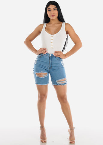 Image of Distressed Light Wash Denim Bermuda Shorts