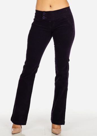 Image of Stylish Purple Low Waist 2-Button Zip Up Closure Boot Cut Pants