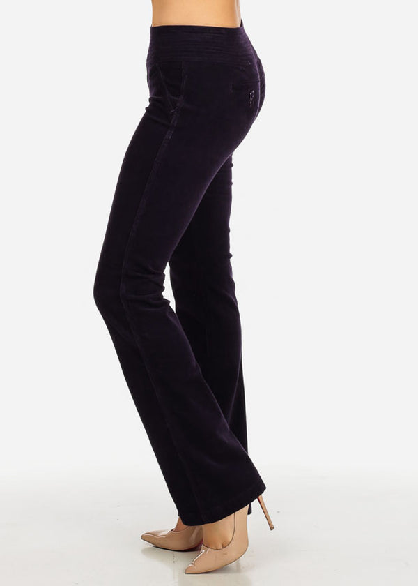 Stylish Purple Low Waist 2-Button Zip Up Closure Boot Cut Pants