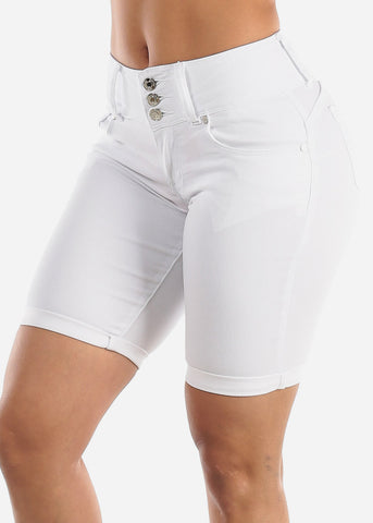 Image of Butt Lifting White Denim Bermuda Shorts