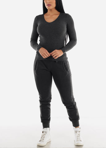 Image of Charcoal High Rise Jogger Sweatpants