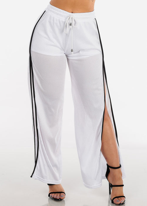 Women's Junior Ladies Sexy Miami Style Side Slits Black Wide Legged Pants