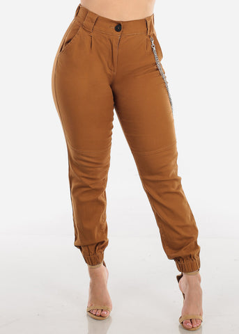 Image of Chain Detail Khaki Jogger Pants
