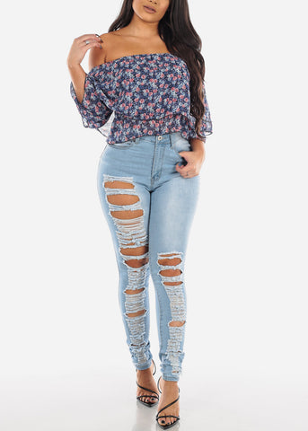 Image of Two Sided Distressed Light Skinny Jeans