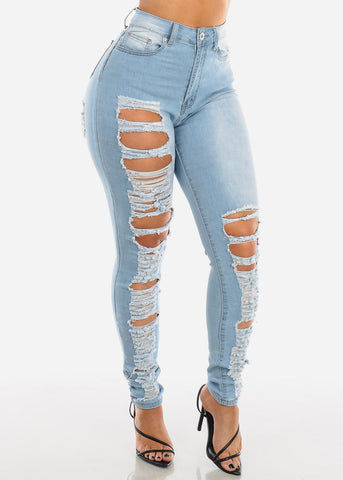 Two Sided Distressed Light Skinny Jeans