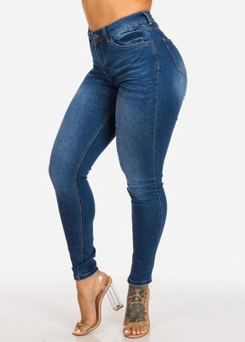 High Waisted Med Wash Skinny Jeans