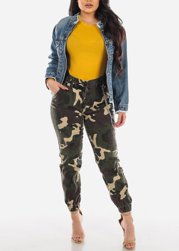 Chain Detail Camouflage Cargo Jogger Pants