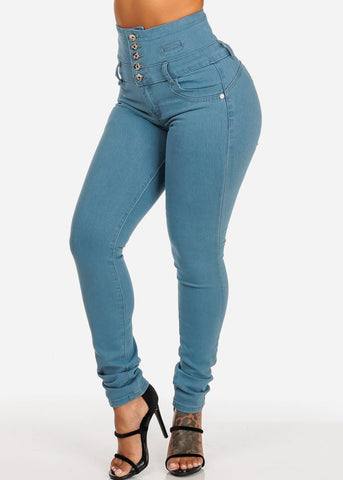 High Waisted Butt Lifting Light Skinny Jeans
