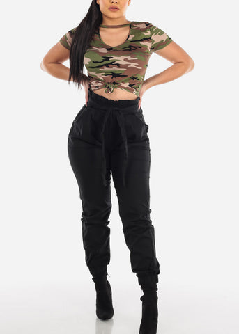 Image of Front Tie Black Jogger Pants
